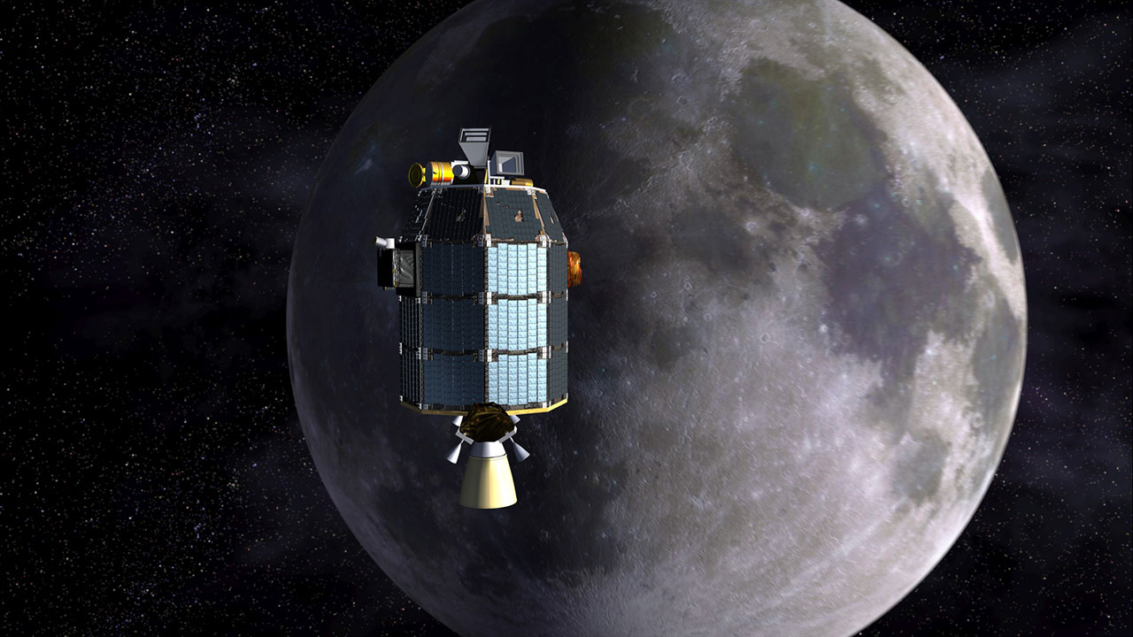 Artist's concept of LADEE spacecraft approaching the moon.