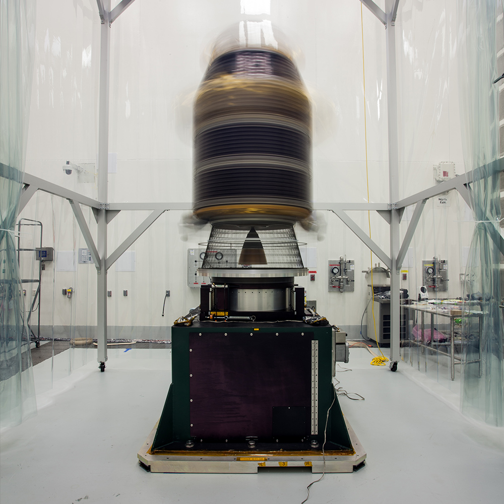 To make sure that the Lunar Atmosphere and Dust Environment (LADEE) spacecraft is perfectly balanced for flight, engineers mount it onto a spin table and rotate it at high speeds, approximately one revolution per second.