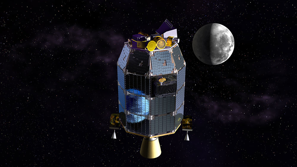A whimsical artist's concept of the Earth reflected in the LADEE spacecraft's solar panels as it travels to the moon.