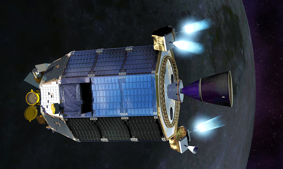 An artist's concept of NASA's Lunar Atmosphere and Dust Environment Explorer (LADEE) spacecraft firing its maneuvering thrusters in order to maintain a safe altitude as it orbits the moon.