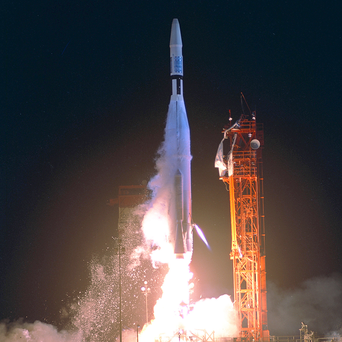 An Atlas-Agena 5 carrying the Mariner 1 spacecraft lifts off from the Cape Kennedy Launch Complex on a mission to Venus.