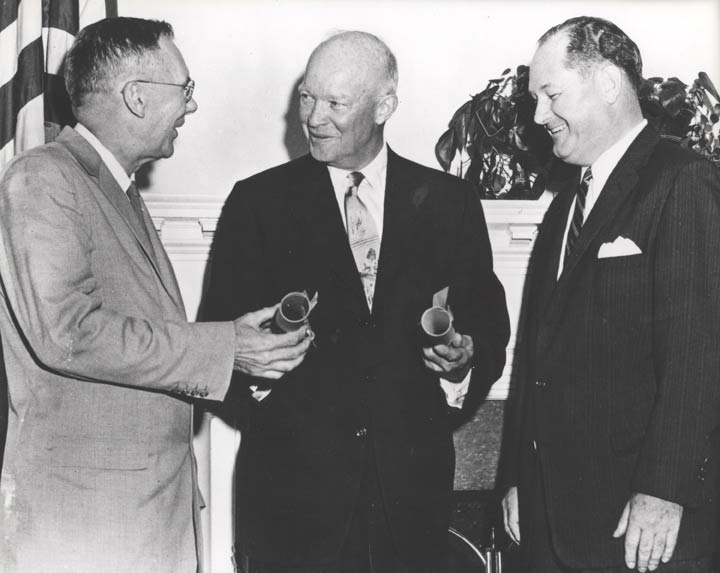 Spurred by the launch of Sputnik, U.S. President Dwight D. Eisenhower signs the National Aeronautics and Space Act of 1958, which creates the National Aeronautics and Space Administration, better known as NASA.