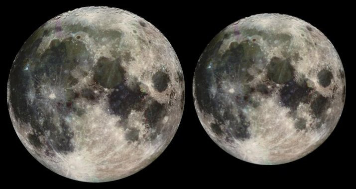 The above illustration, based on Galileo spacecraft images, shows the approximate difference in apparent size between a full moon at perigee (the closest point in the lunar orbit, pictured at left) and a full moon at apogee, the farthest point in the lunar orbit.