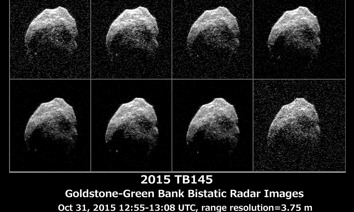 Asteroid 2015 TB145 is depicted in eight individual radar images collected on Oct. 31, 2015 between 5:55 a.m. PDT (8:55 a.m. EDT) and 6:08 a.m. PDT (9:08 a.m. EDT).
