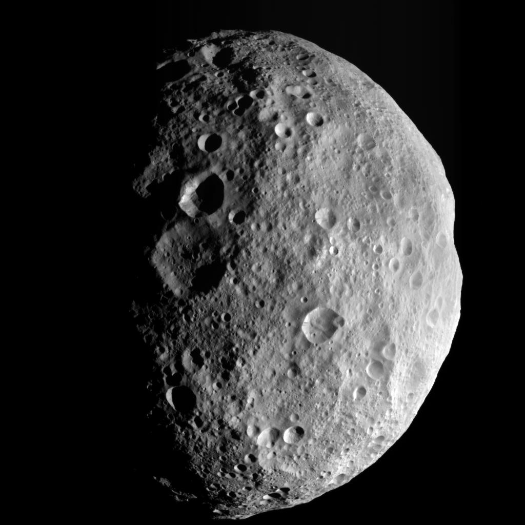 This image is from the last sequence of images NASA's Dawn spacecraft obtained of the giant asteroid Vesta, looking down at Vesta's north pole as it was departing.