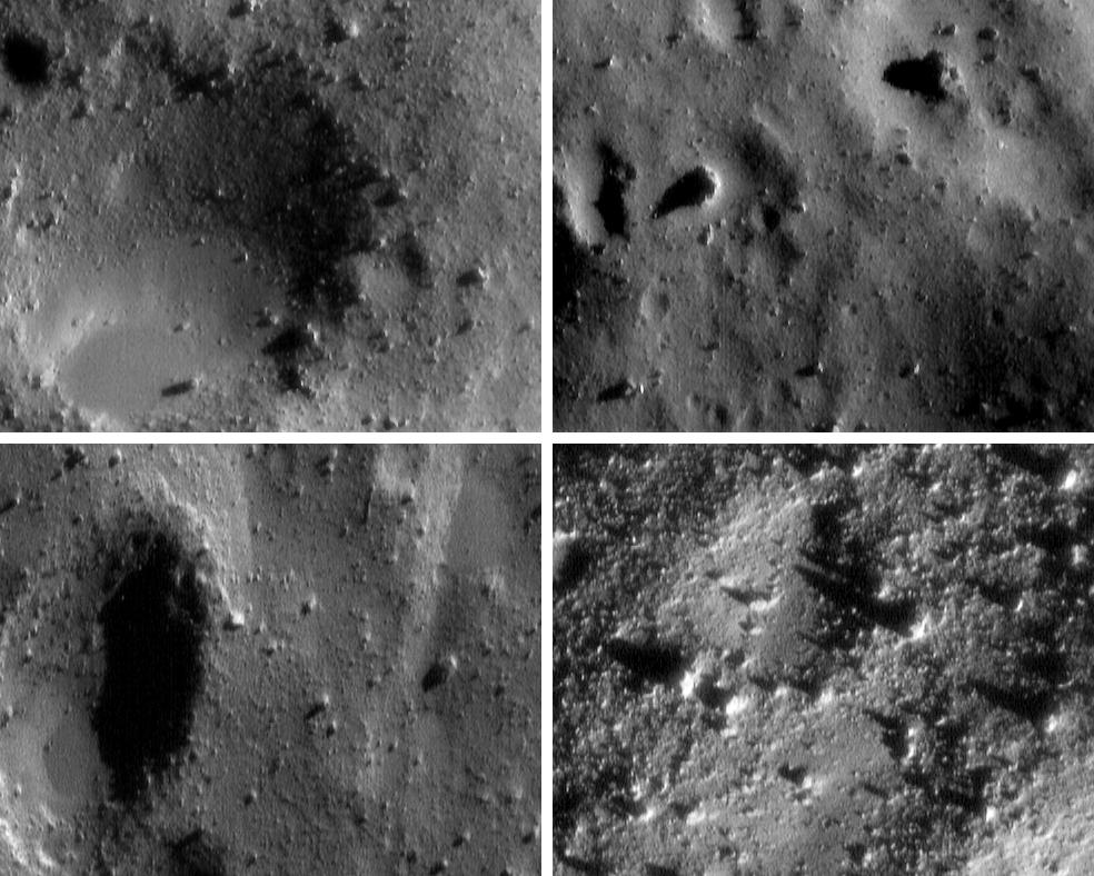 These four images are among thousands NEAR Shoemaker acquired during several low-altitude passes over Eros from January 25-28, 2001.