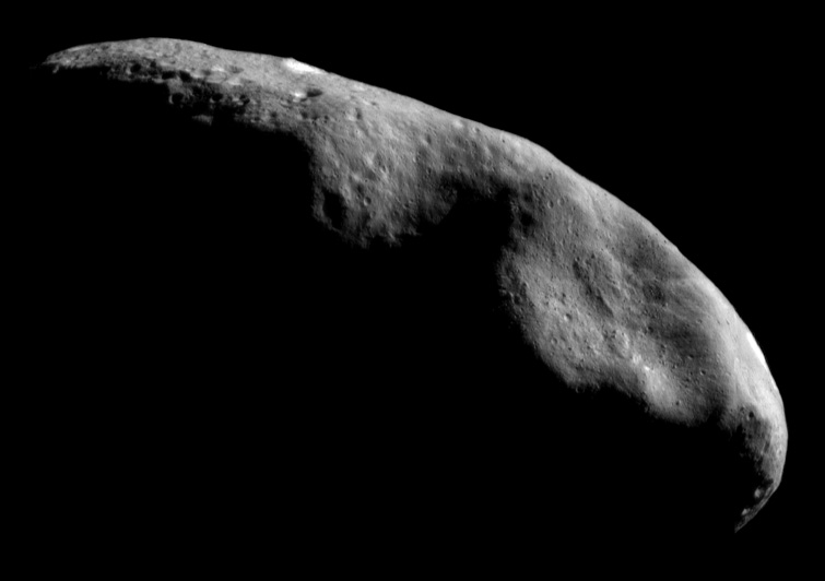 This mosaic of NEAR Shoemaker images, taken on December 3, 2000, from an orbital altitude of 200 kilometers (124 miles), provides an overview of the eastern part of the asteroid's southern hemisphere.