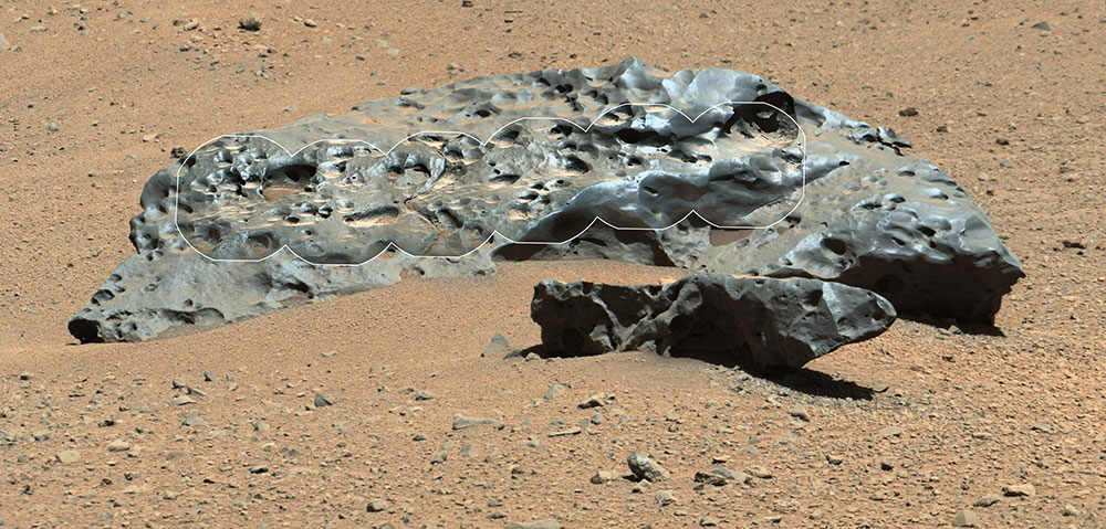 "This rock encountered by NASA's Curiosity Mars rover is an iron meteorite called ""Lebanon,"" similar in shape and luster to iron meteorites found on Mars by the previous generation of rovers, Spirit and Opportunity."
