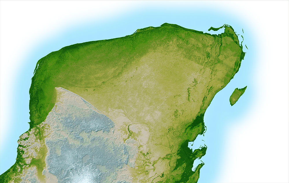 This shaded relief image of Mexico's Yucatan Peninsula show a subtle, but unmistakable, indication of the Chicxulub impact crater.