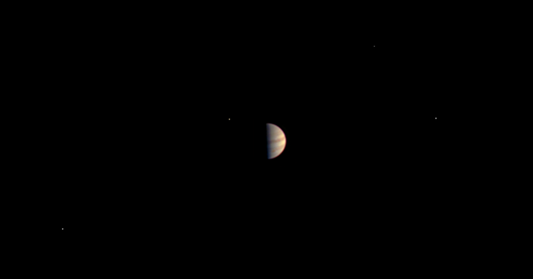 Image of Jupiter, Callisto, Ganymede, Io and Europa