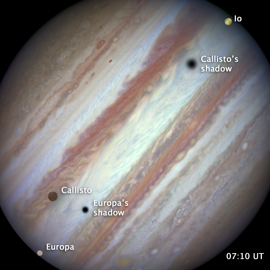 Image of Jupiter with three moons, Europa, Callisto and Io