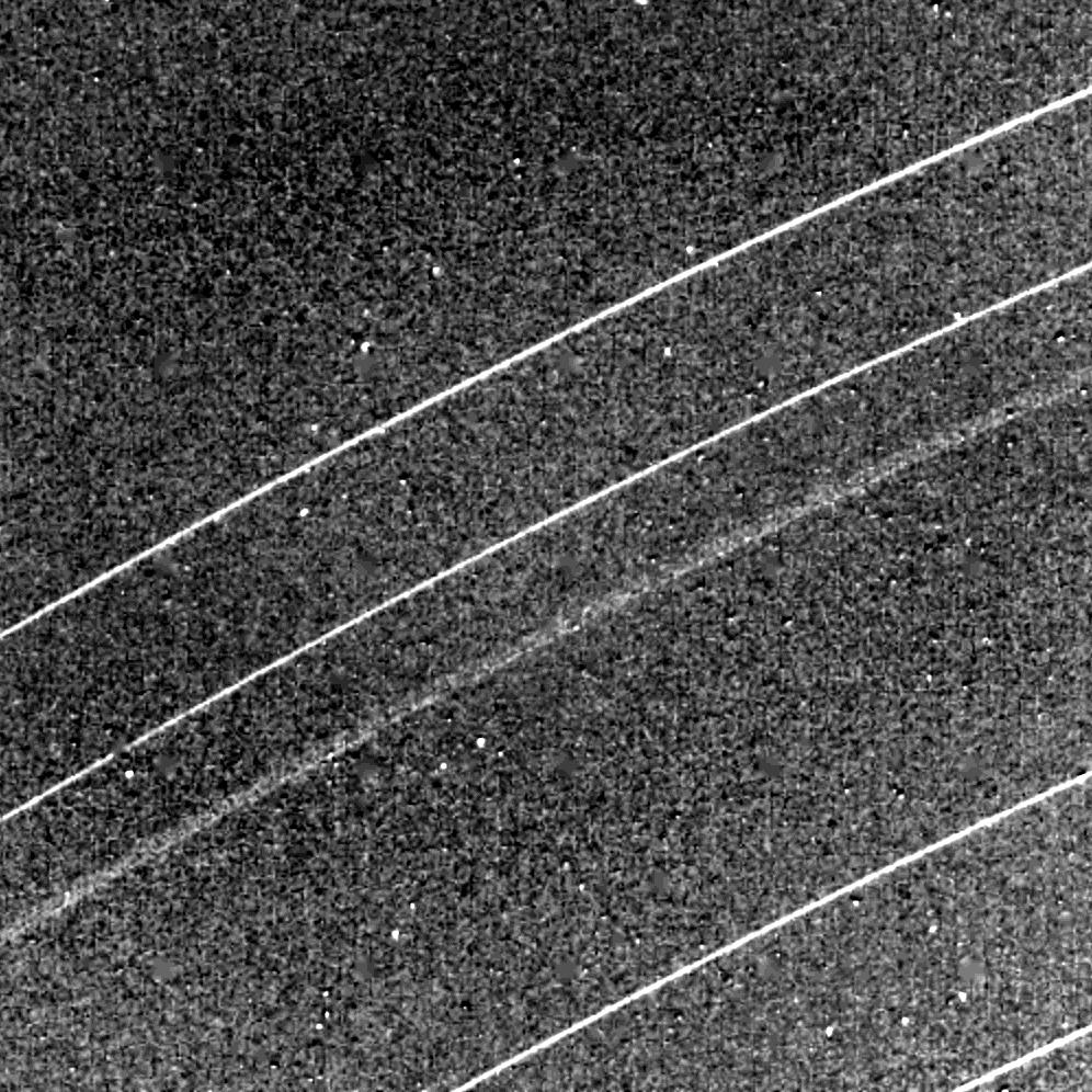This Voyager 2 image of the Uranian rings delta, gamma, eta, beta and alpha (from top) was taken Jan. 23, 1986.