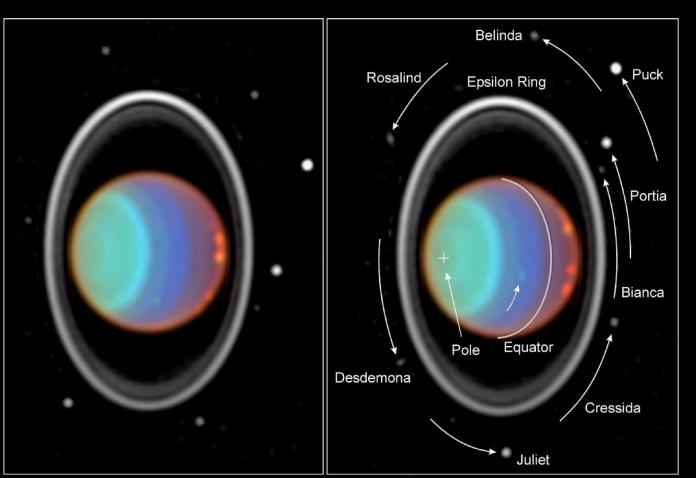 Taking its first peek at Uranus, NASA Hubble Space Telescope's Near Infrared Camera and Multi-Object Spectrometer (NICMOS) has detected six distinct clouds in images taken July 28, 1997.