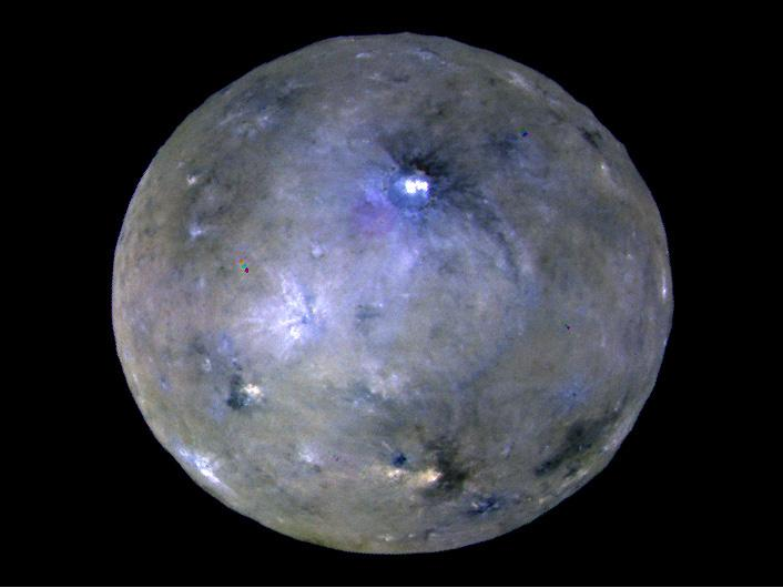 This enhanced color image of Ceres' surface was made from data obtained on April 29, 2017, when NASA's Dawn spacecraft was exactly between the sun and Ceres.