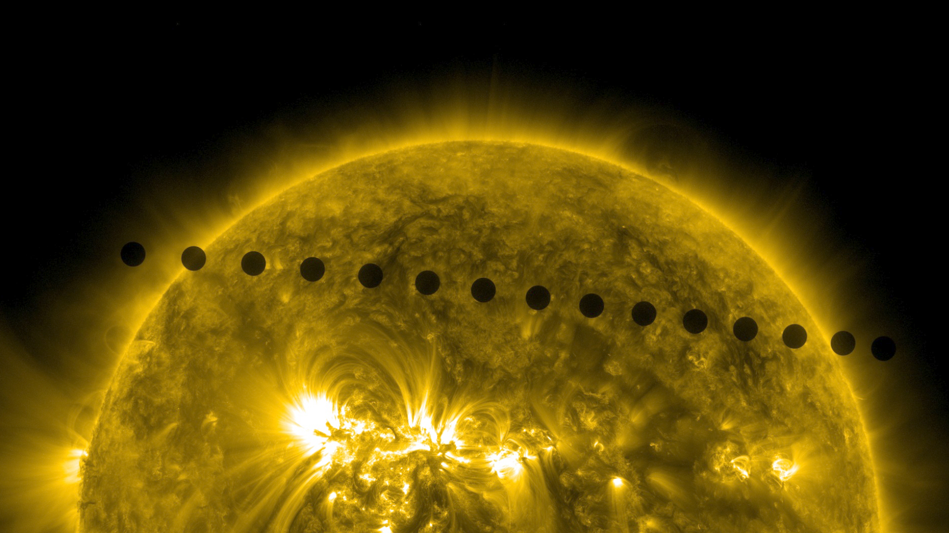 Sequence of images from Solar Dynamic Observatory (SDO) in 171 wavelength of the Venus transit, merged together to show path of Venus across the Sun.
