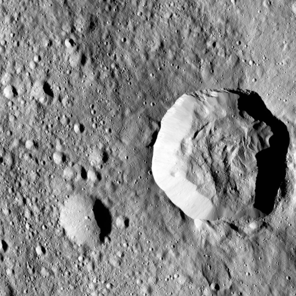 Ceres' surface shows evidence for different types of flows that indicate the presence of ice in the regolith (as described in PIA21471).