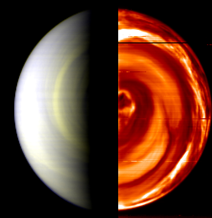 This composite, false-color view of Venus' south pole was captured by VIRTIS onboard the European Space Agency's Venus Express.