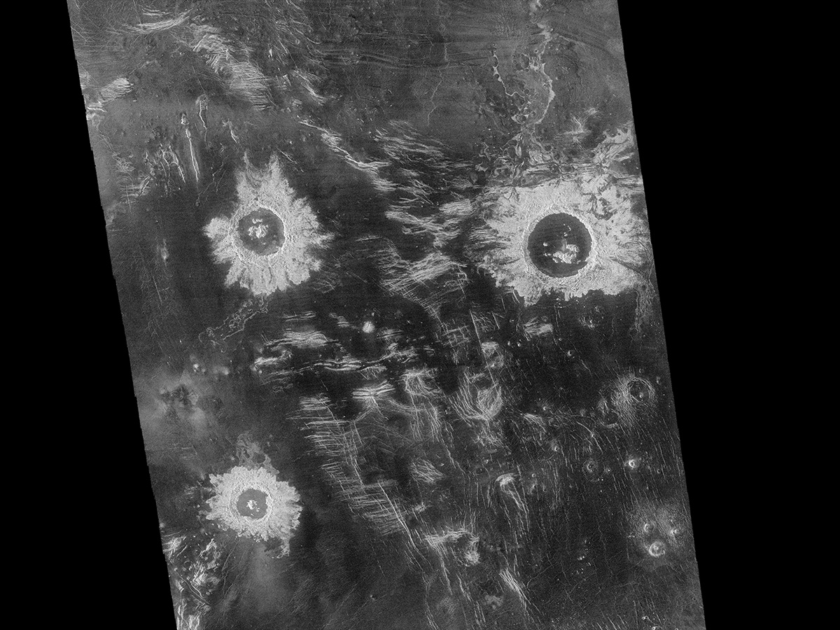 Three large meteorite impact craters, with diameters that range from 37 to 50 km (23 to 31 miles), are seen in this image of the Lavinia region on Venus.