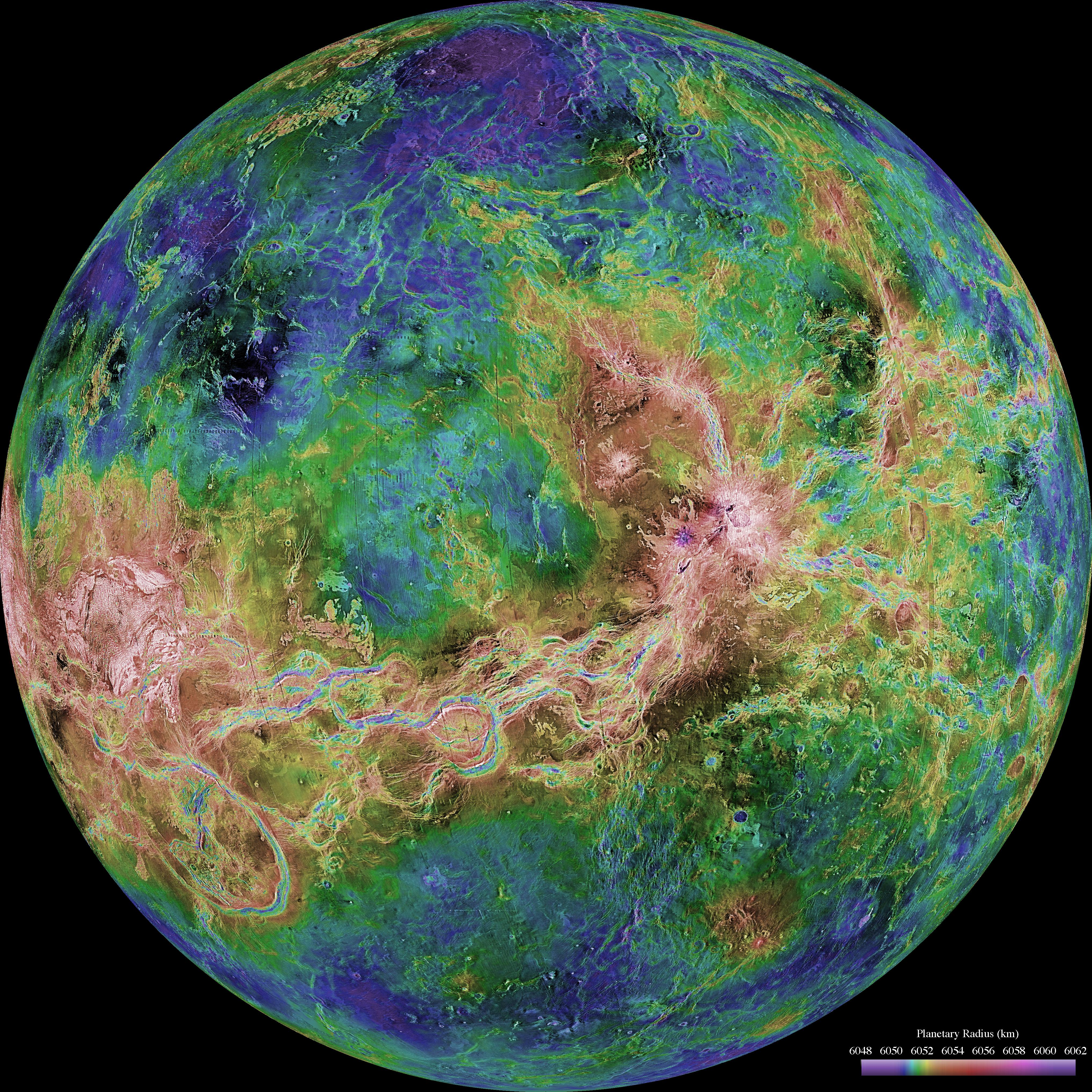 The hemispheric view of Venus, as revealed by more than a decade of radar investigations culminating in the 1990-1994 Magellan mission, is centered at 180 degrees east longitude.