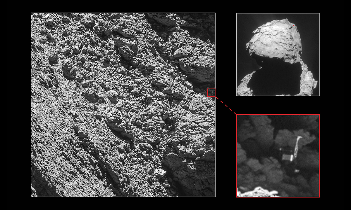 Less than a month before the end of the mission, Rosetta's high-resolution camera has revealed the Philae lander wedged into a dark crack on Comet 67P/Churyumov-Gerasimenko.