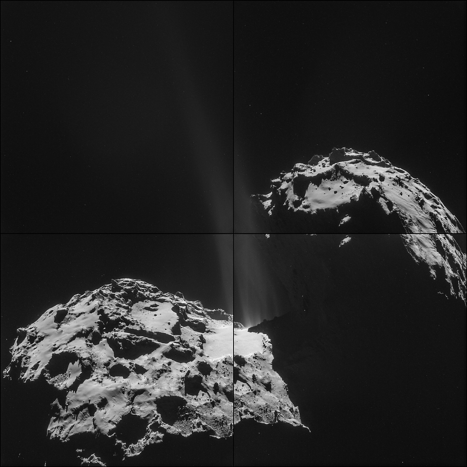 The four images that make up this montage of comet 67P/Churyumov-Gerasimenko were taken on September 26, 2014 by the European Space Agency's Rosetta spacecraft.