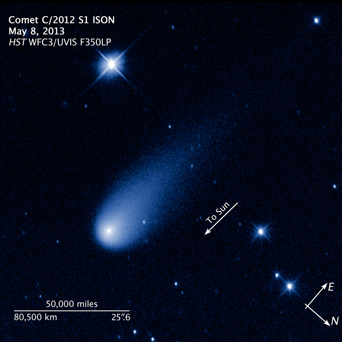 This false-color, visible-light image of comet ISON was taken with Hubble's Wide Field Camera 3.