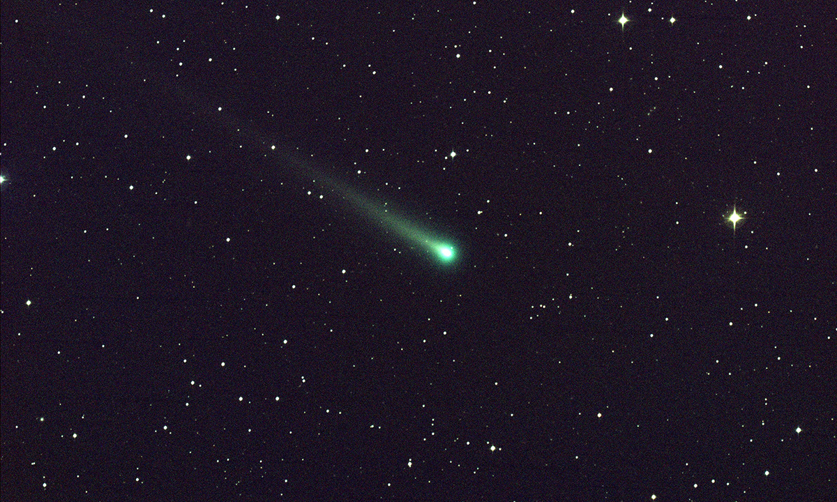 Comet ISON shines in this five-minute exposure taken at NASA's Marshall Space Flight Center on 8 Nov. at 5:40 a.m. EST.
