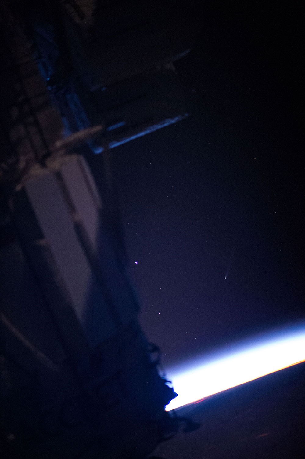 Comet ISON photographed by the crew aboard the International Space Station.