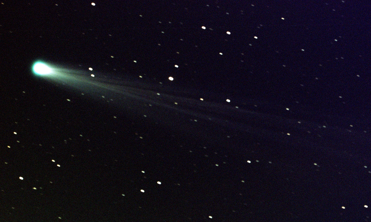 Comet ISON shows off its tail in this three-minute exposure taken on 19 Nov. 2013 at 6:10 a.m. EST, using a 14-inch telescope located at the Marshall Space Flight Center.