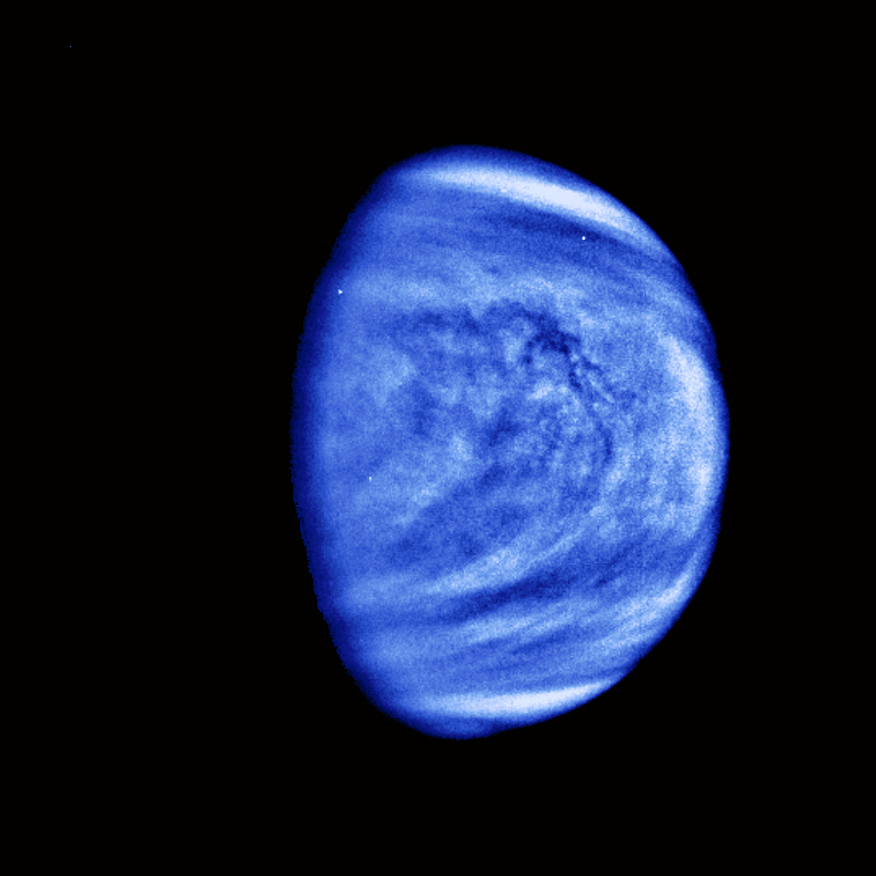 This picture of Venus was taken by the Galileo spacecrafts Solid State Imaging System on February 14, 1990, at a range of almost 1.7 million miles from the planet.