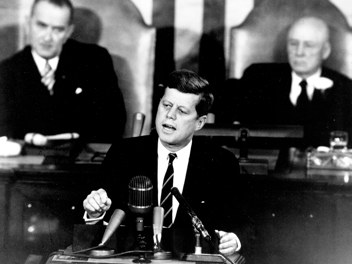 Here we see President John F. Kennedy giving his historic message to a joint session of the Congress, on 25 May 1961.