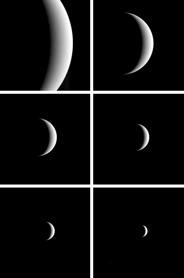 Series showing the crescent of Venus growing smaller.