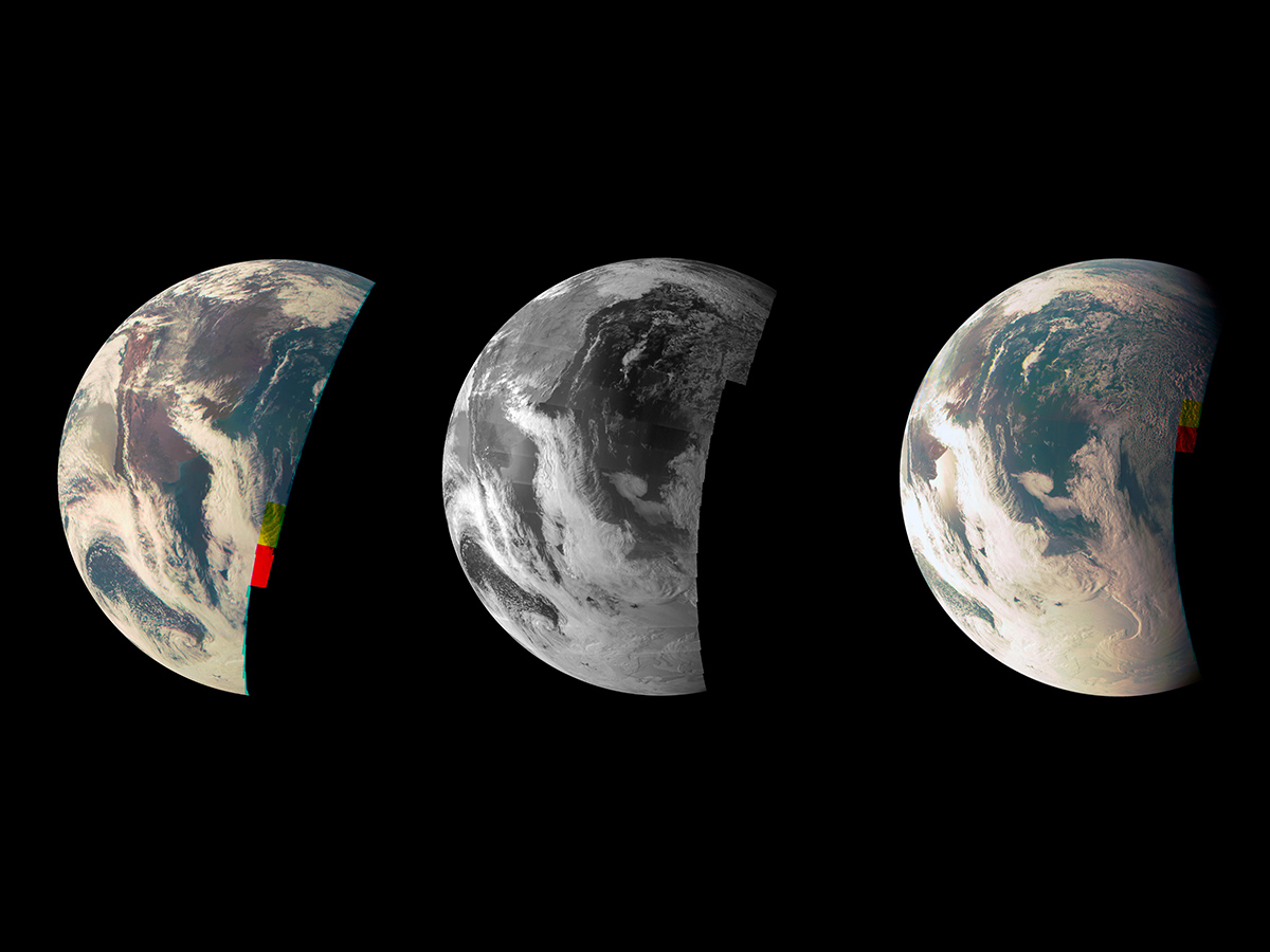 This trio of Junocam views of Earth was taken during Juno's close flyby on October 9, 2013.