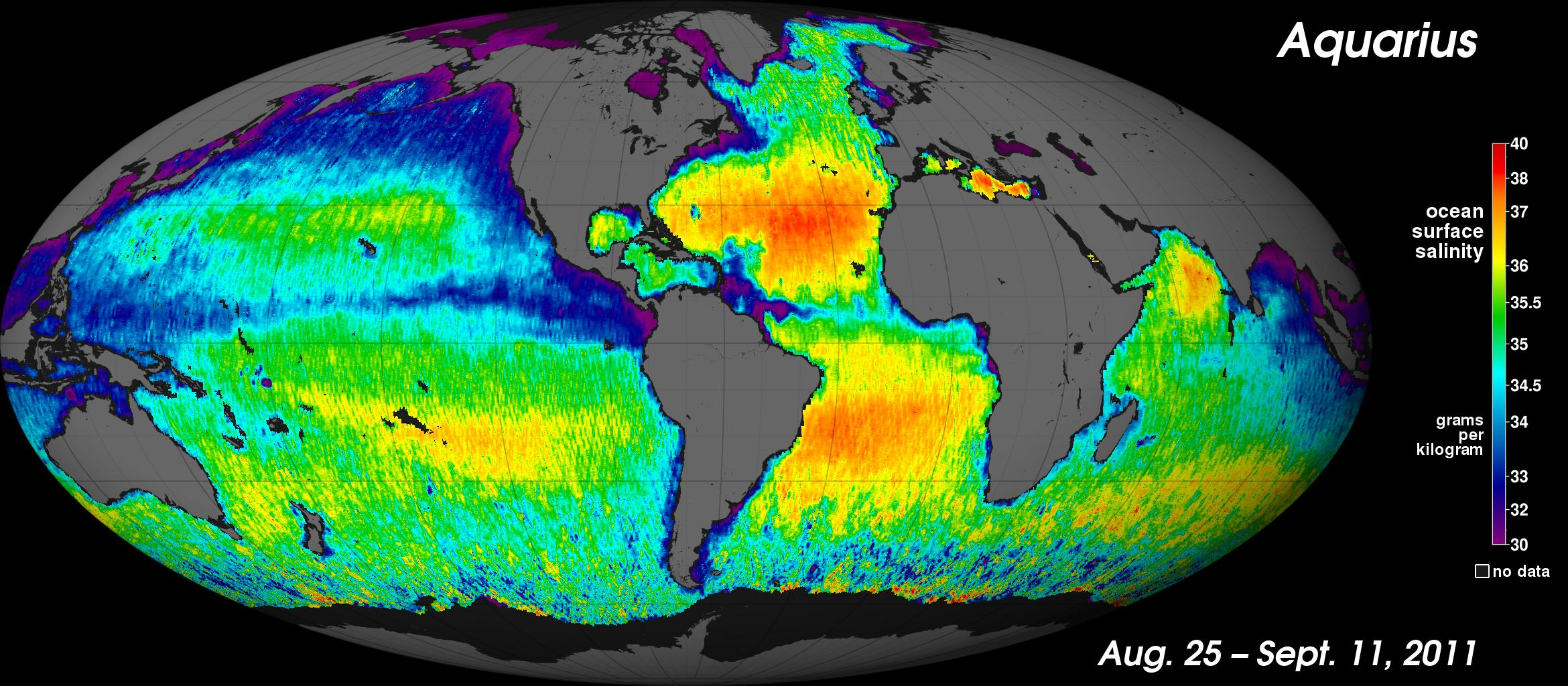 NASA's new Aquarius instrument has produced its first global map of the salinity, or saltiness, of Earth's ocean surface, providing an early glimpse of the mission's anticipated discoveries.