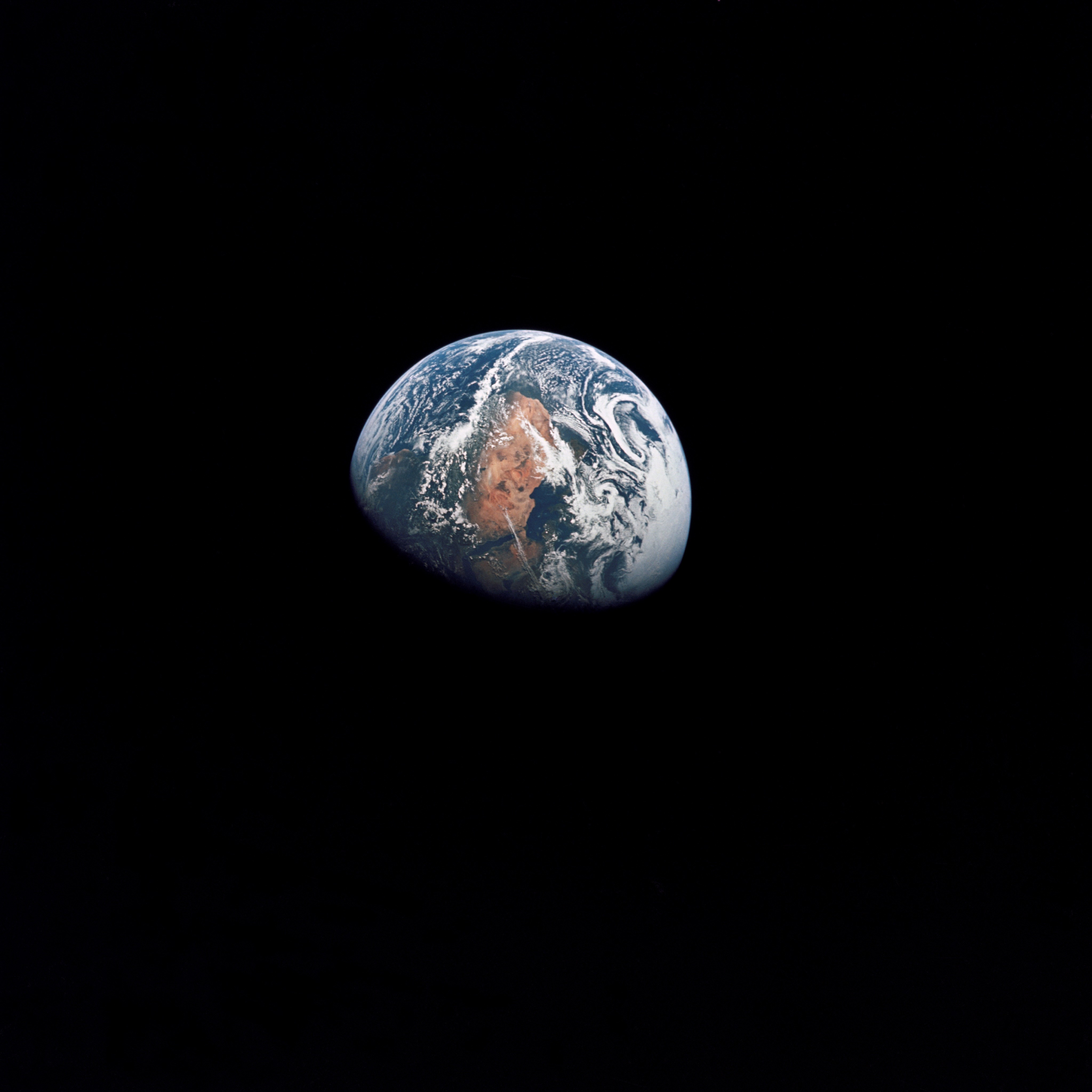 An Apollo 10 photograph of Earth taken from 100,000 miles away.