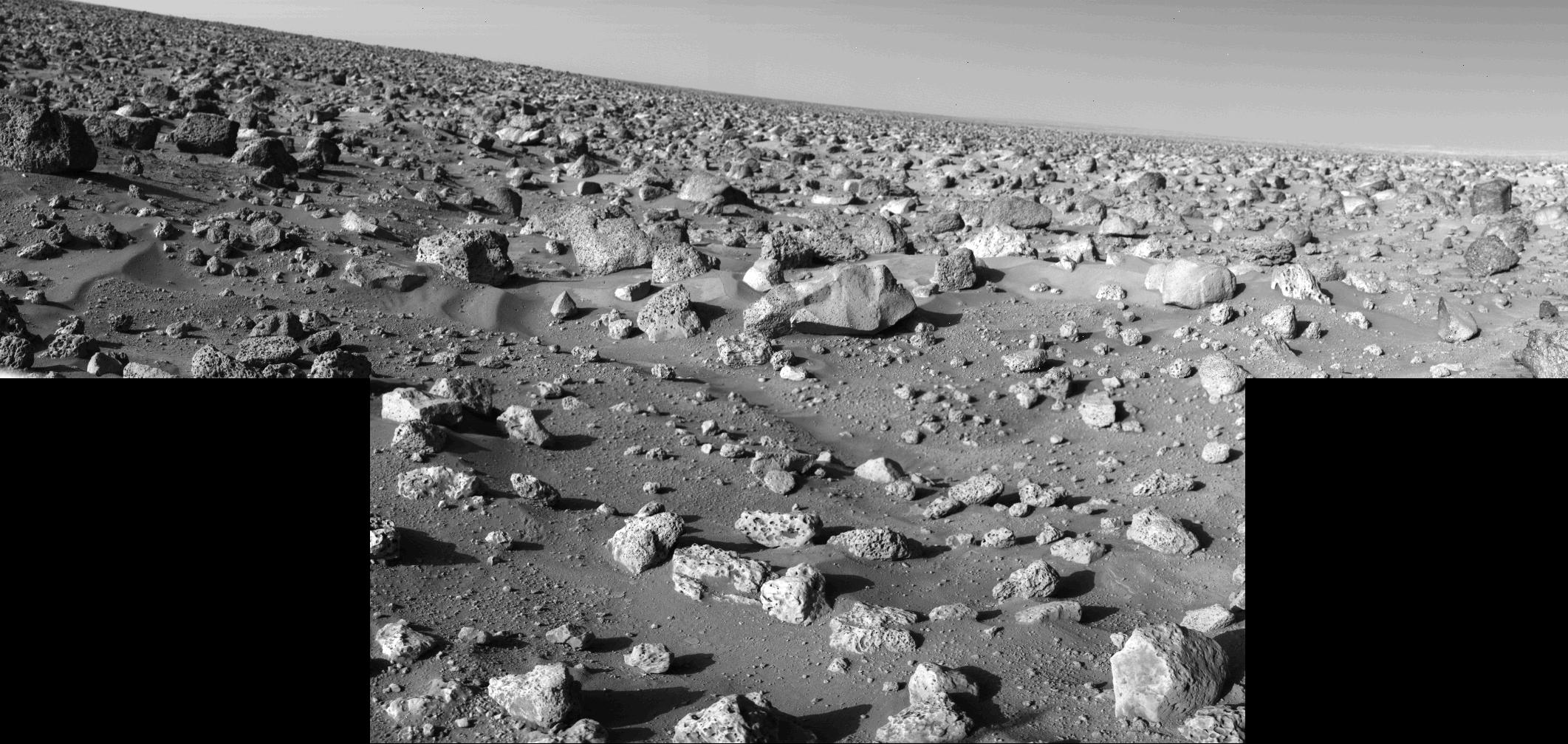 On a clear day on Mars, you can see tens of thousands of rocks.