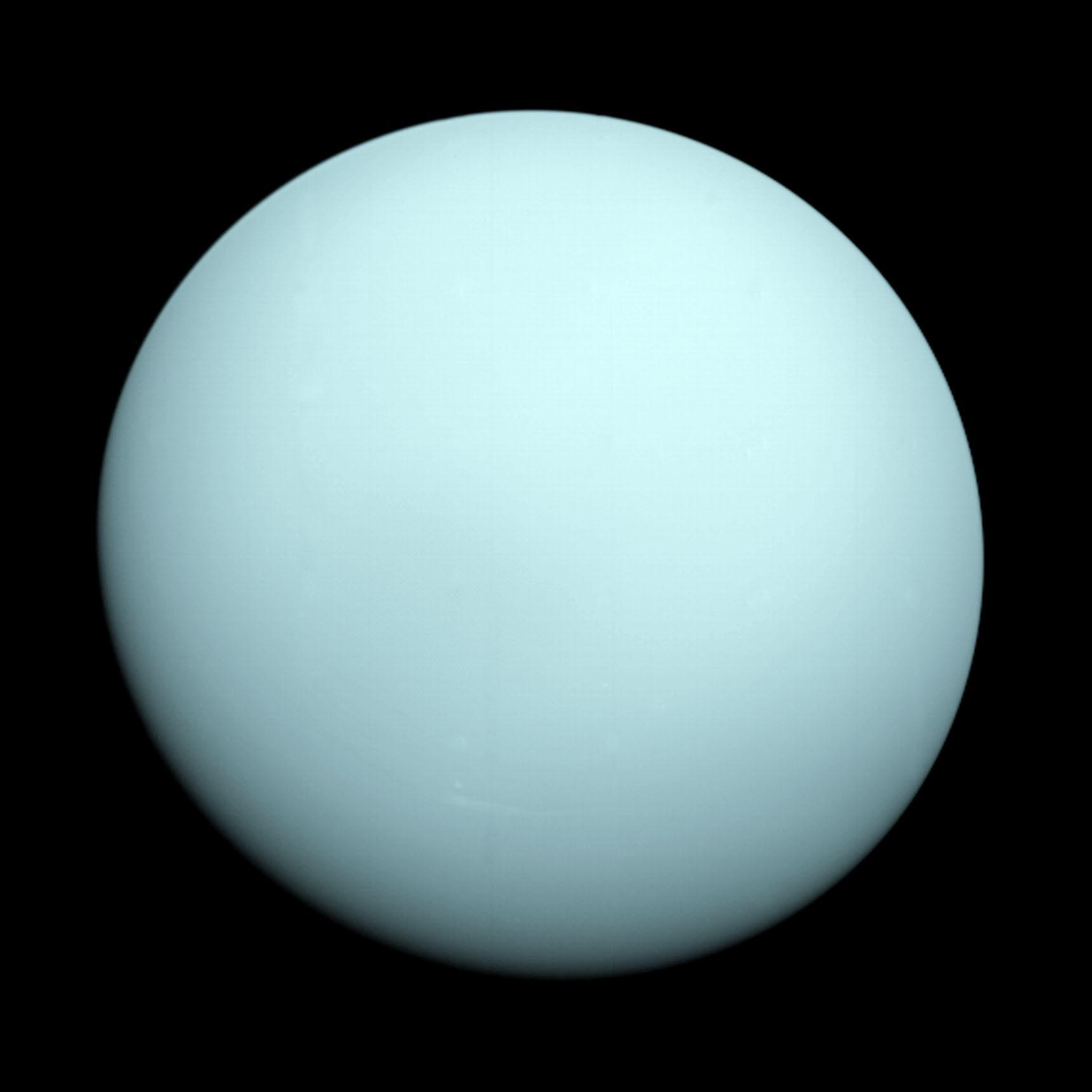 Uranus by Voyager 2 (click to enlarge)