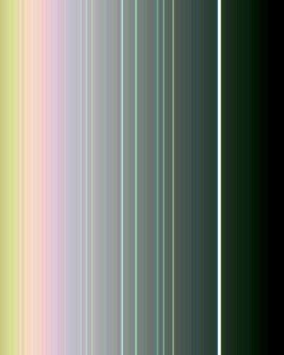 This false-color view of the rings of Uranus was made from images taken by Voyager 2 on Jan. 21, 1986, from a distance of 4.17 million kilometers (2.59 million miles).