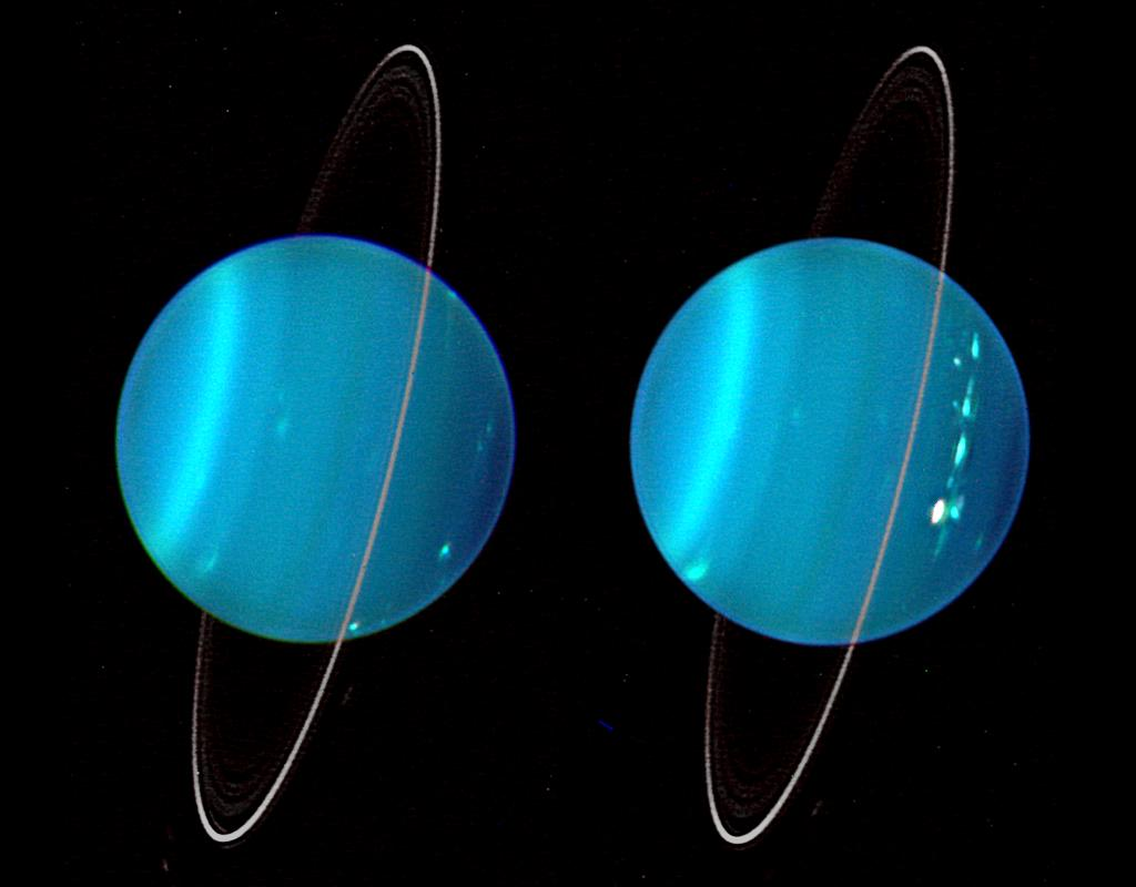 An infrared composite image of the two hemispheres of Uranus obtained with Keck Telescope adaptive optics.