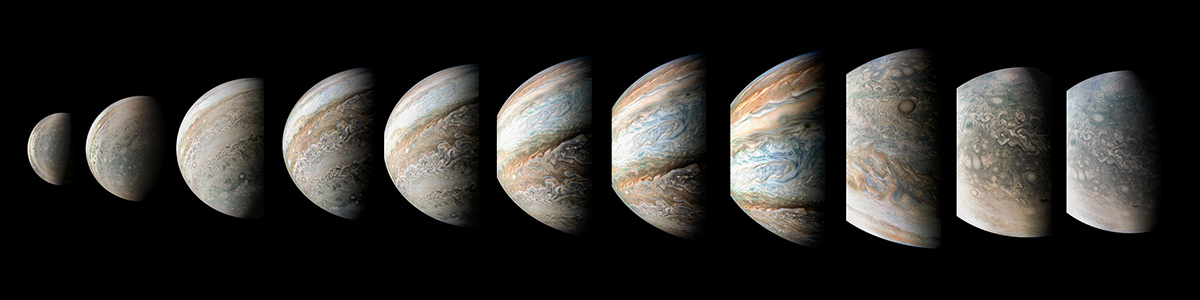 This sequence of color-enhanced images shows how quickly the viewing geometry changes for NASA's Juno spacecraft as it swoops by Jupiter.