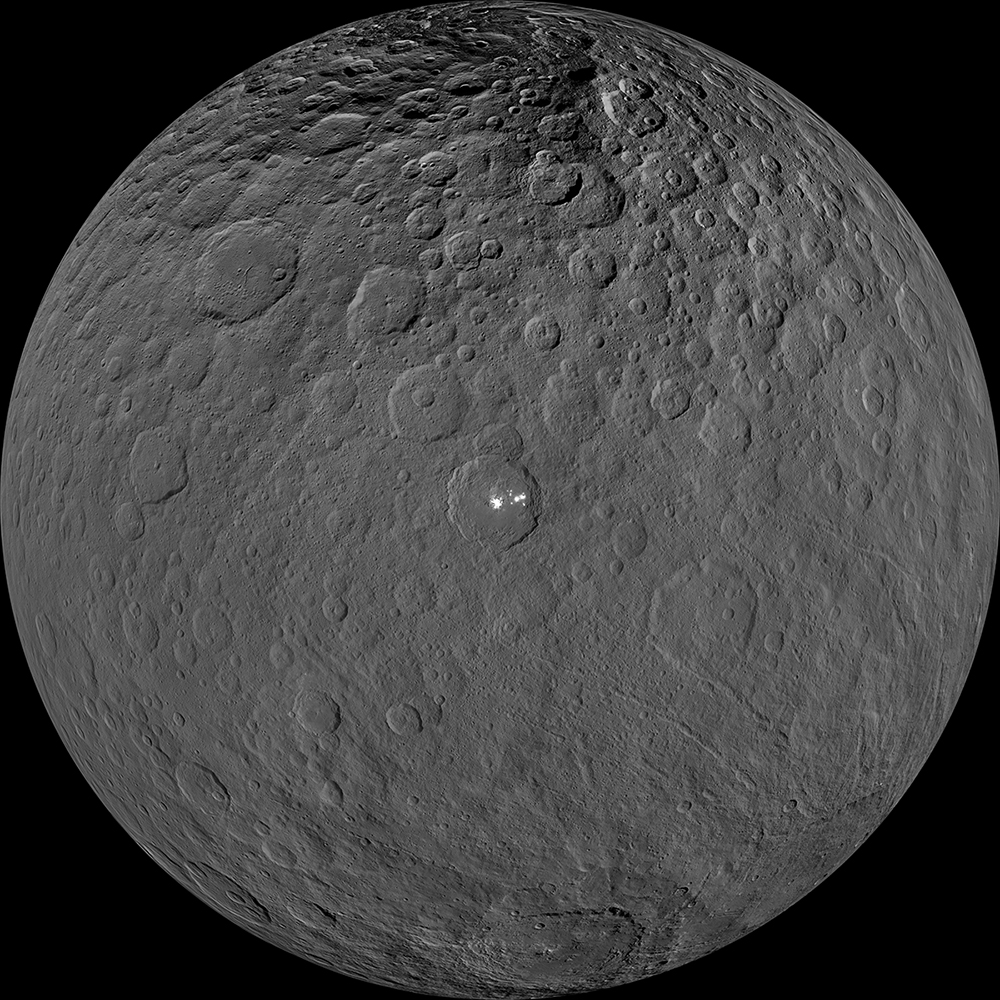 This orthographic projection shows dwarf planet Ceres as seen by NASA's Dawn spacecraft. ​
