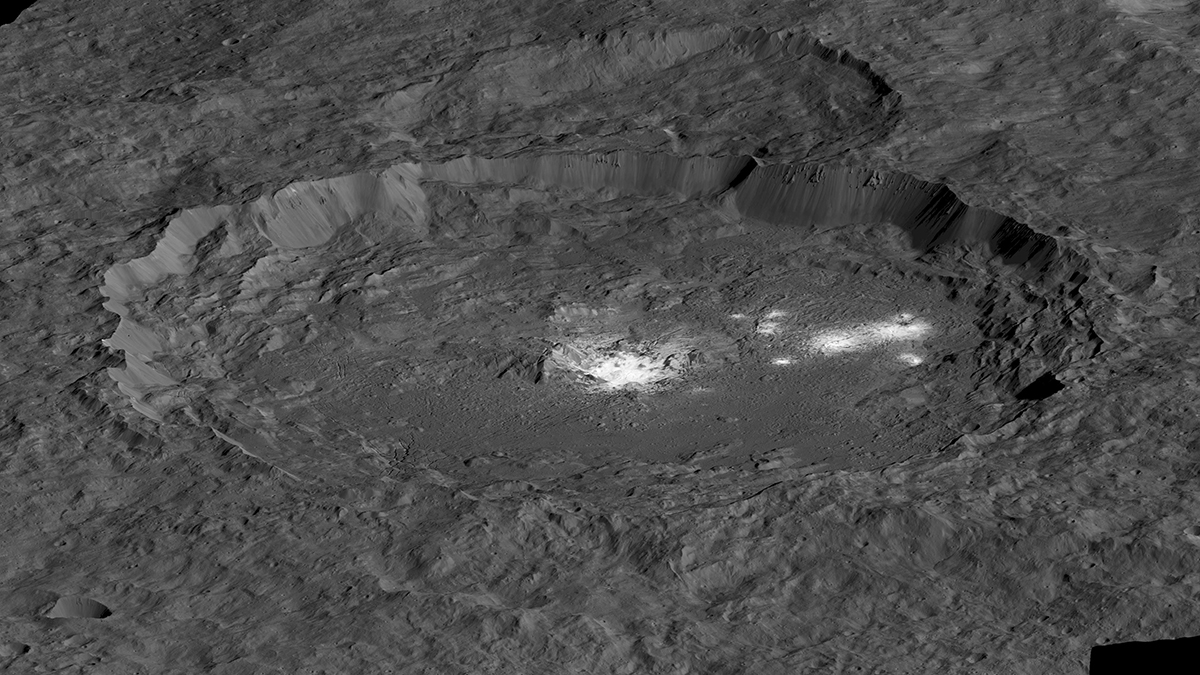 Crater with bright, white surface features on Ceres.