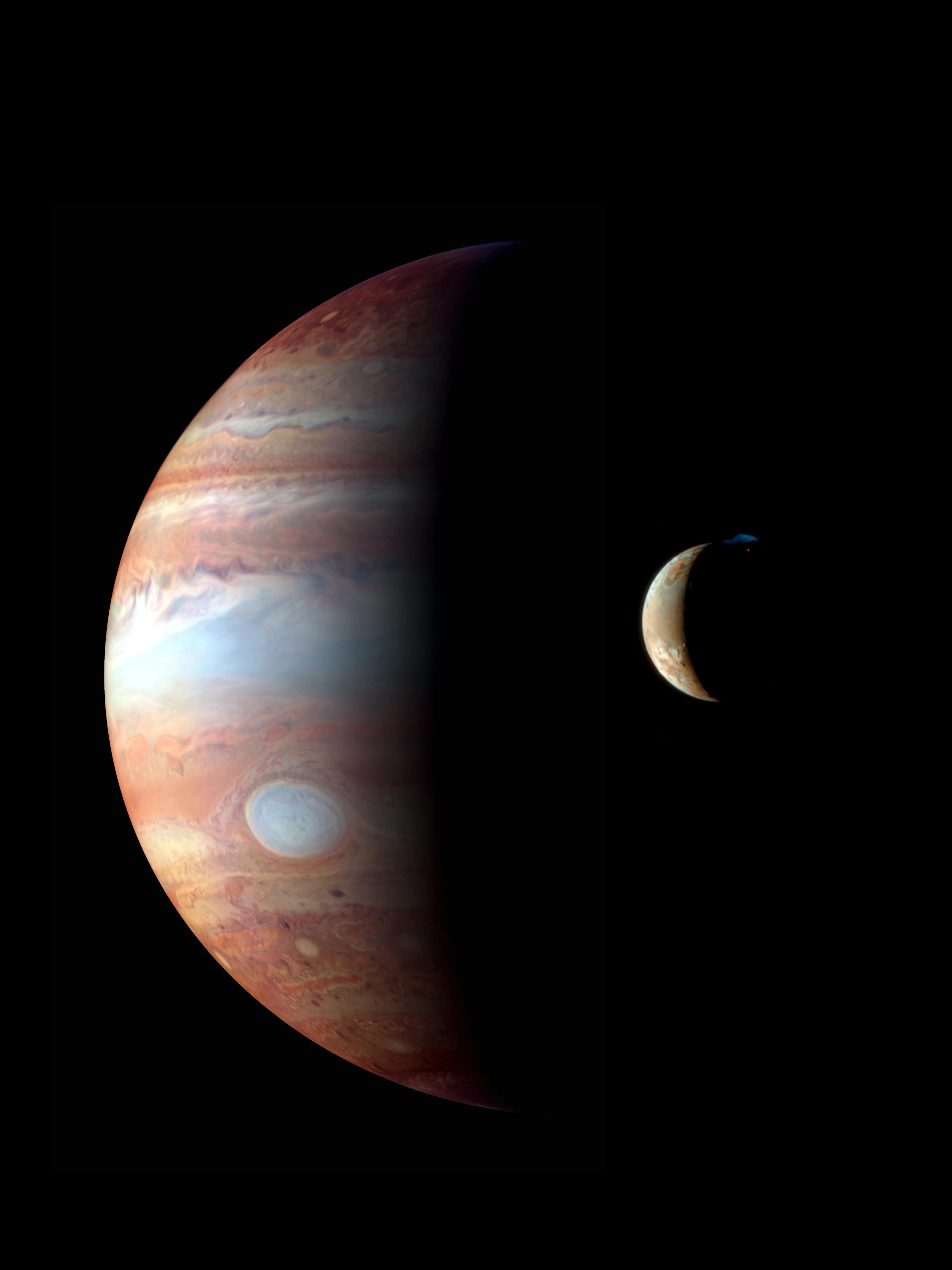 This is a montage of New Horizons images of Jupiter and its volcanic moon Io, taken during the spacecraft's Jupiter flyby in early 2007.