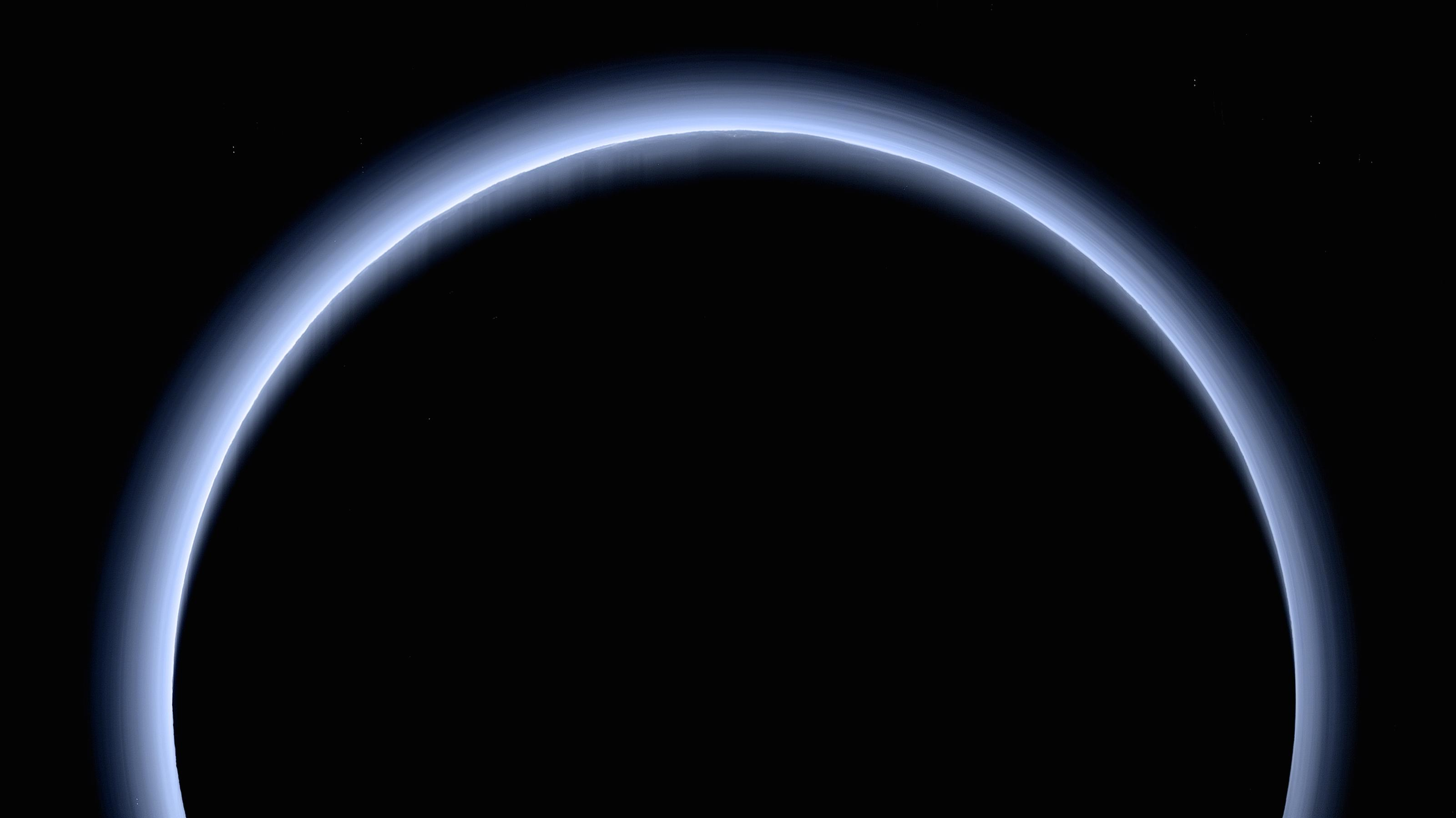 This is the highest-resolution color departure shot of Pluto's receding crescent from NASA's New Horizons spacecraft, taken when the spacecraft was 120,000 miles (200,000 kilometers) away from Pluto.