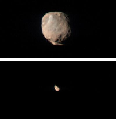 These two images taken by the Compact Reconnaissance Imaging Spectrometer for Mars (CRISM) show Mars' two small moons, Phobos and Deimos, as seen from the Mars Reconnaissance Orbiter's low orbit around Mars.