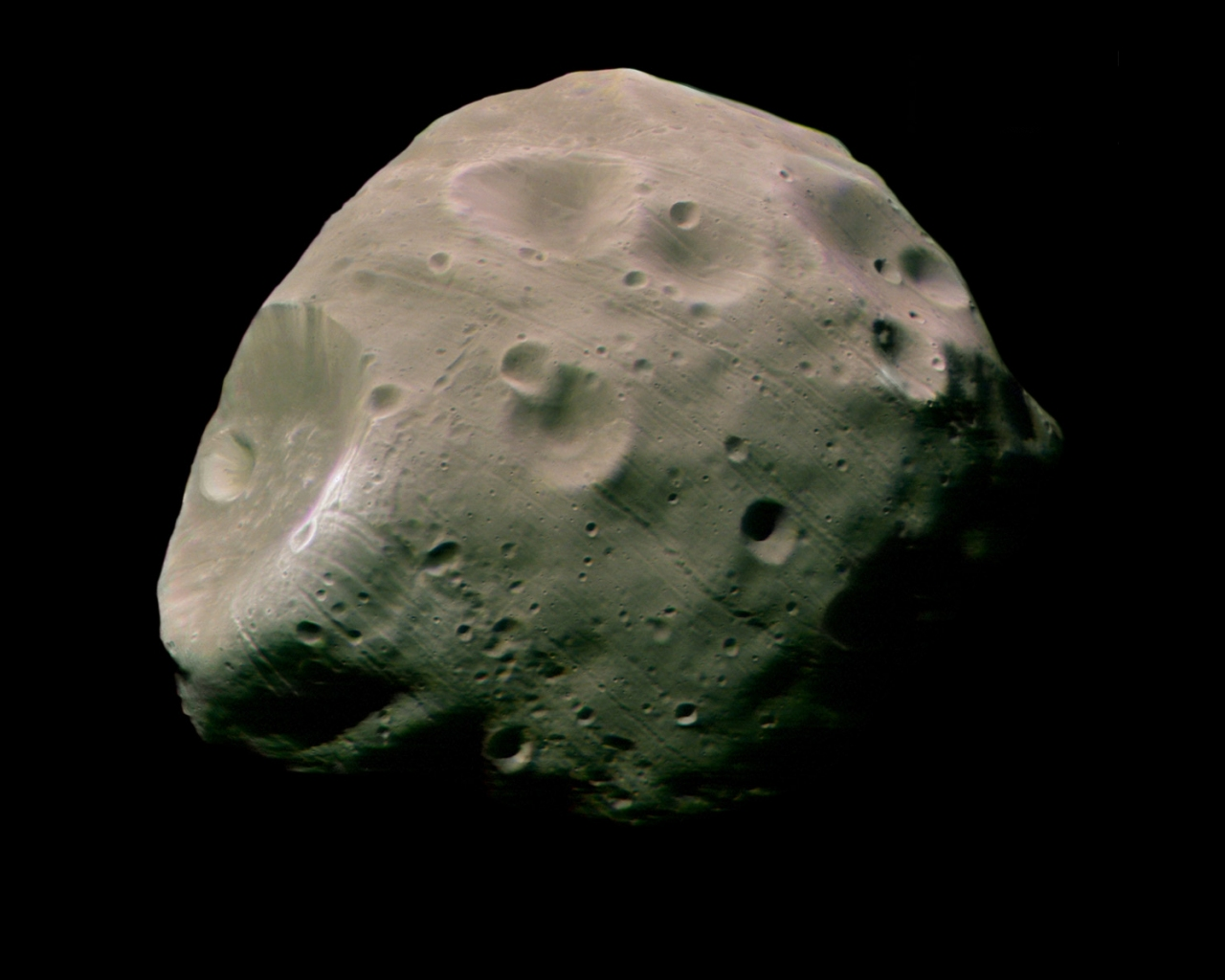This image, taken by the High Resolution Stereo Camera (HRSC) on board ESA's Mars Express spacecraft, is one of the highest-resolution pictures so far of the Martian moon Phobos.