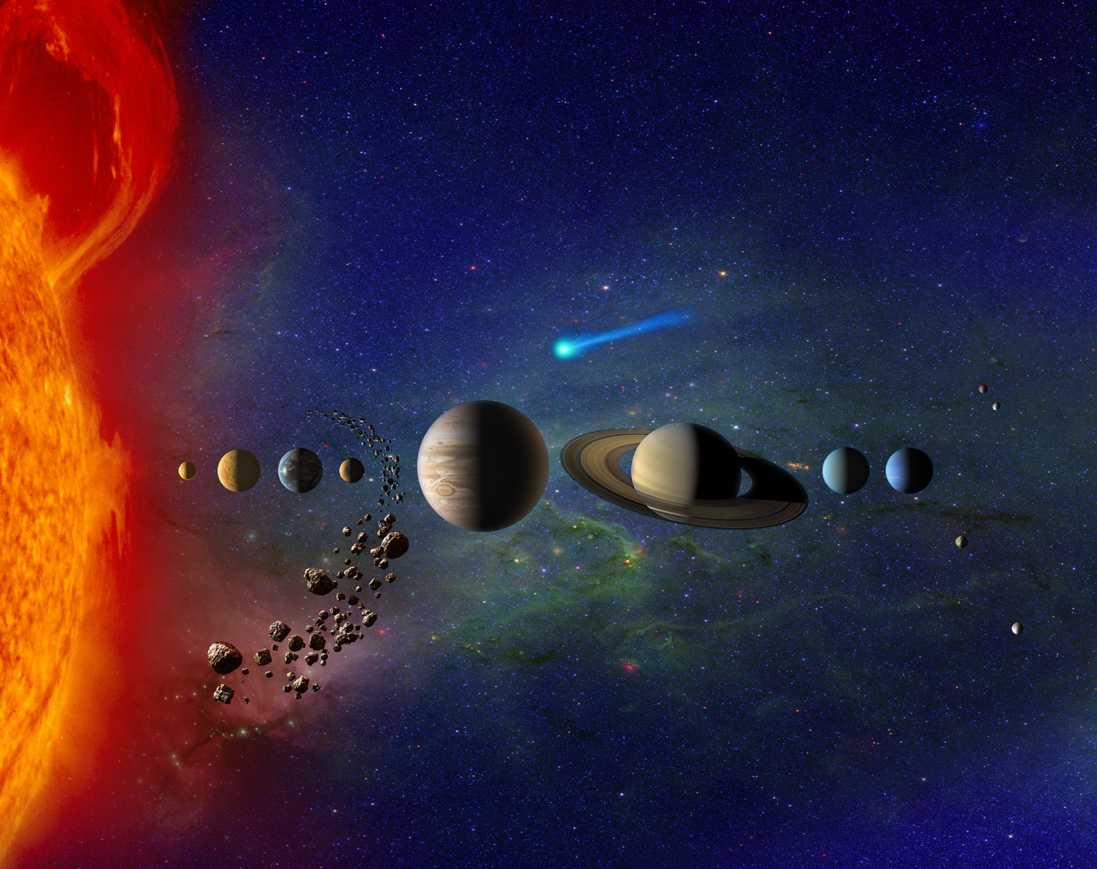 Fanciful illustration of the bodies in our solar system all lined up.