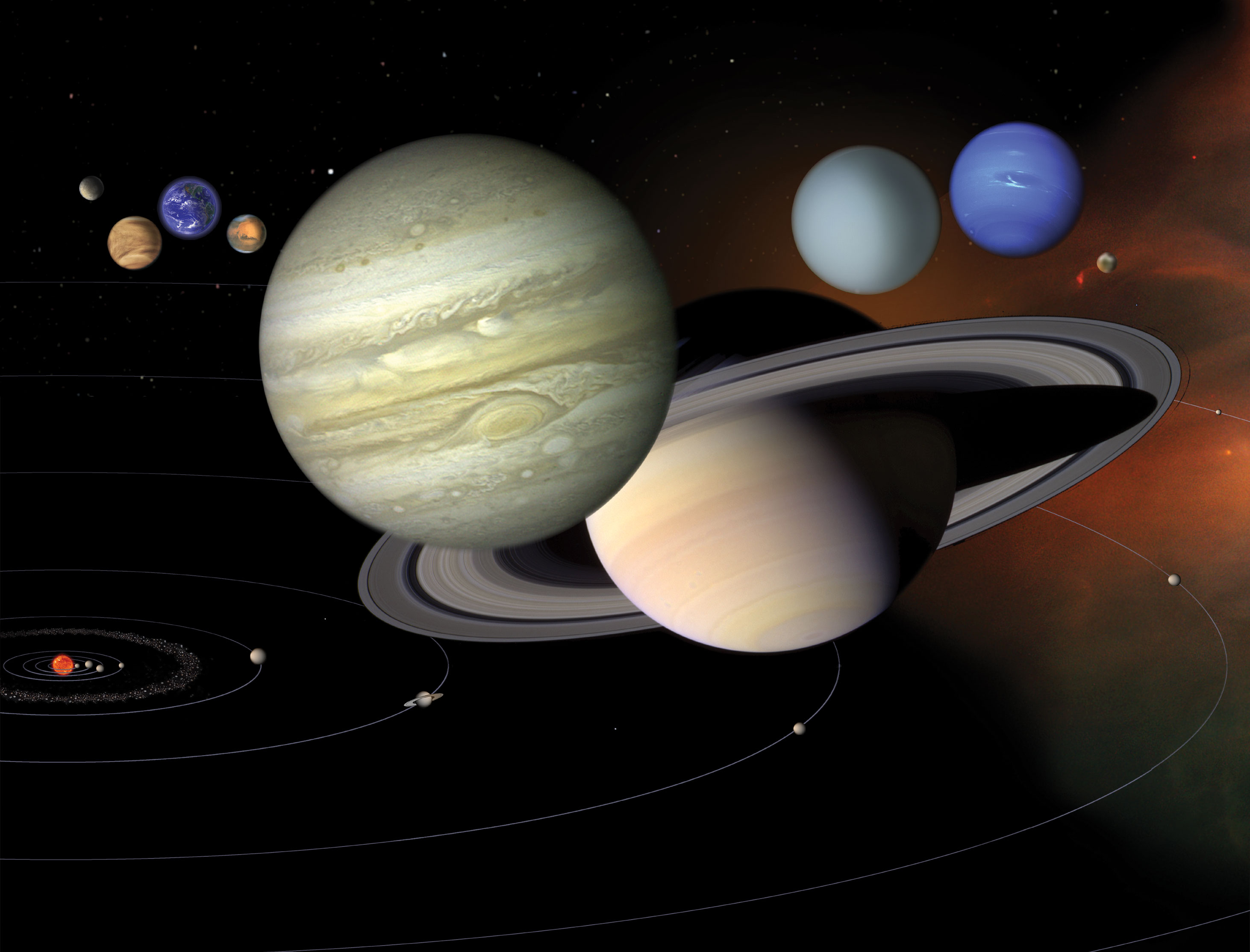 Illustration of the planets of our solar system lined up with each other.