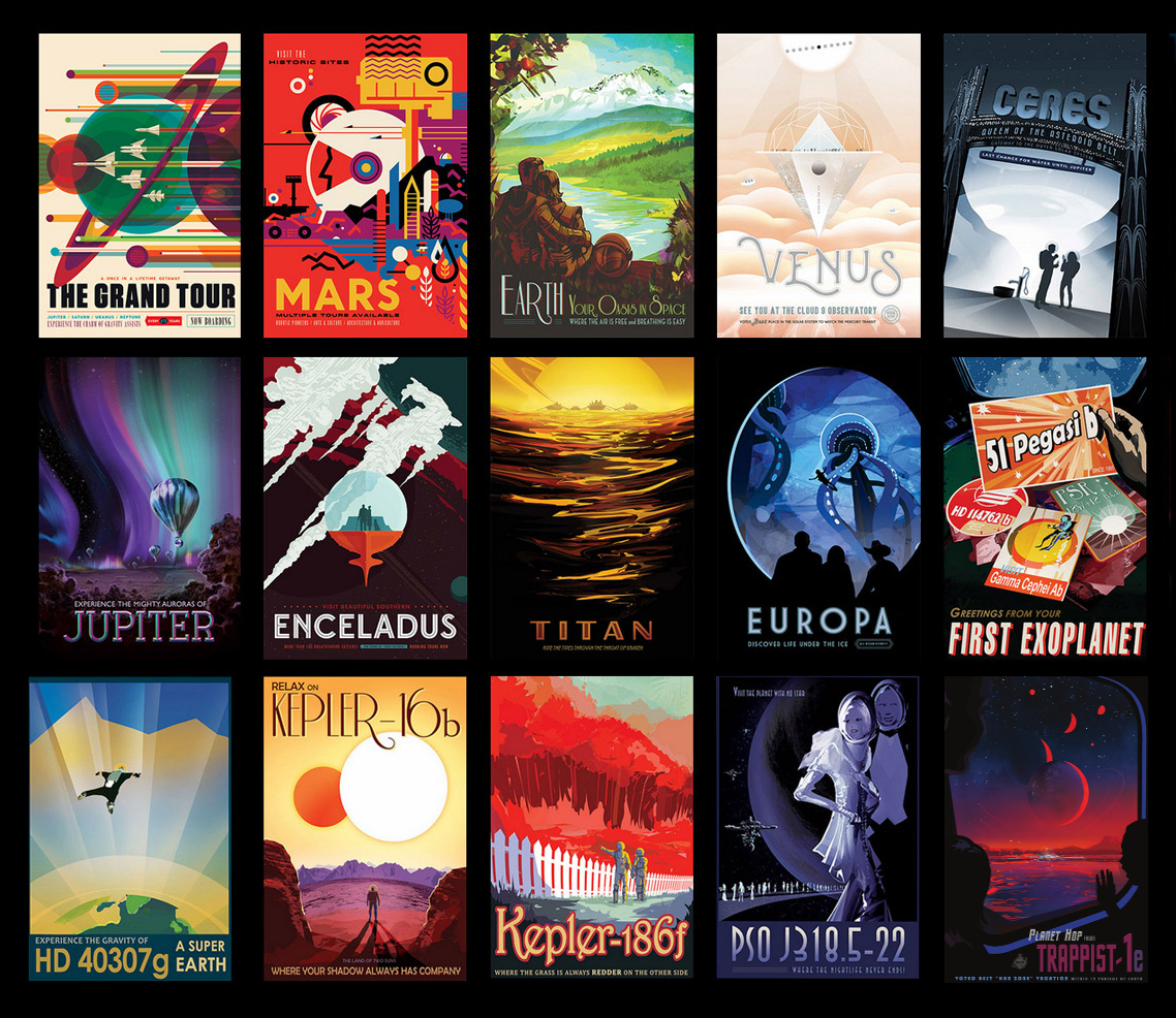 Whimsical, futuristic space travel posters.