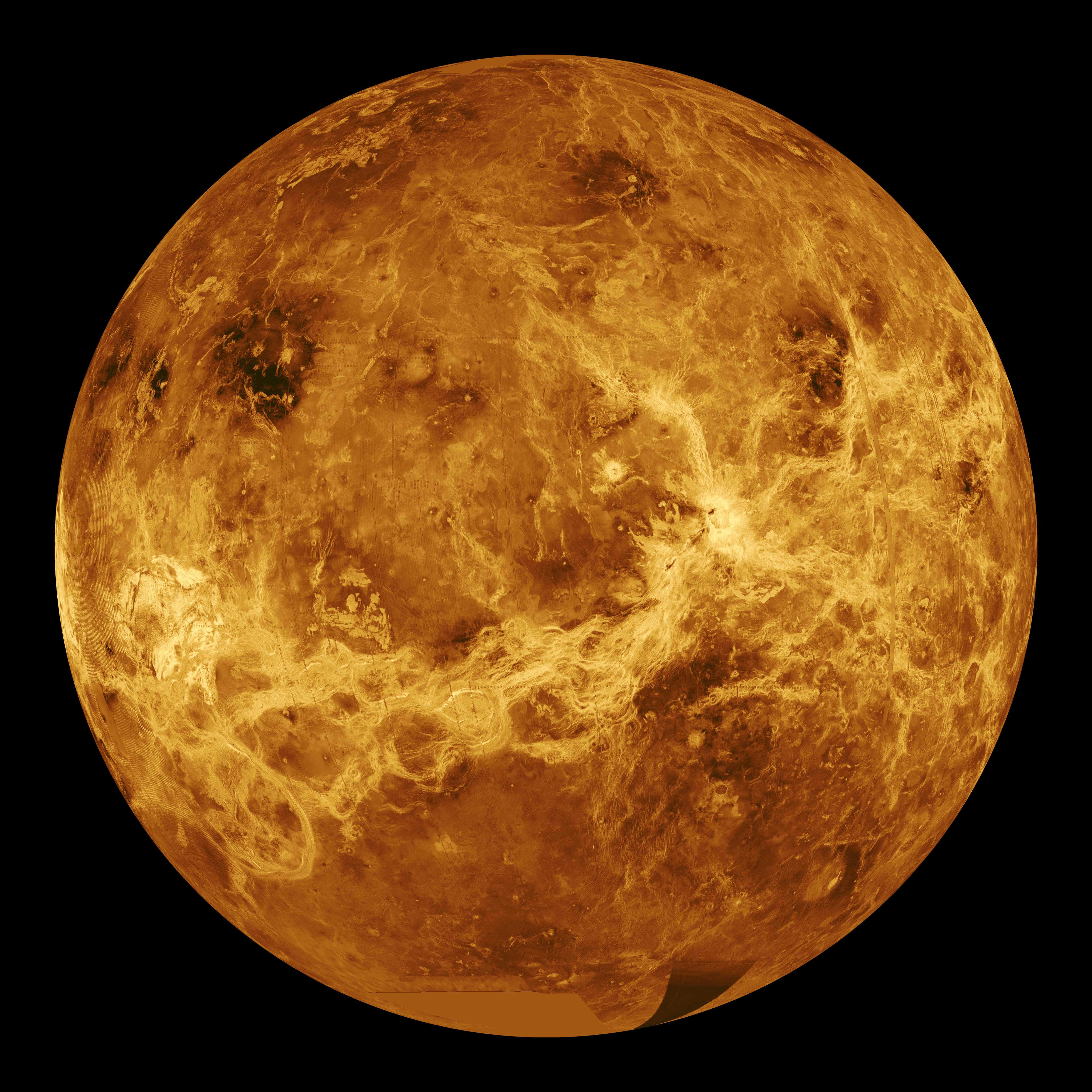 Computer Simulated Global View of Venus (click to enlarge)